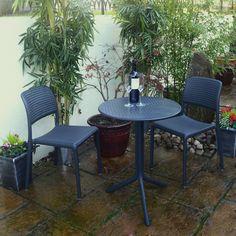 Grey Garden Furniture, Furniture Decor, Outdoor Furniture Sets, Outdoor Decor, Grey Gardens, Back Gardens, Small Gardens, Paved Backyard Ideas, Narrow Garden