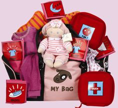 Toddlers Tote - this is a necessity for any new born! A tote bag filled with essentials is a perfect gift! Nutcracker Sweet, My Bags, Gift Baskets, Baby Car Seats, Baby Gifts, Toddlers, Essentials, Tote Bag, Children