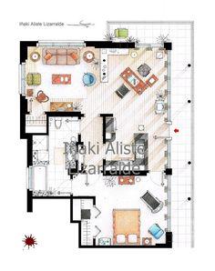Floorplan of Dexter Morgan's apartment - Small