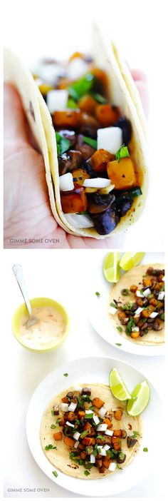 Butternut Squash and Mushroom Tacos -- easy to make, naturally gluten-free and vegetarian, and FULL of great flavor!