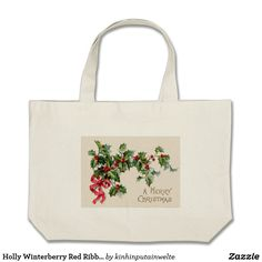 Holly Winterberry Red Ribbon Large Tote Bag