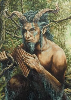 Greek god Pan, god of the wild, shepherds and flocks, nature of mountain wilds, hunting and rustic music.