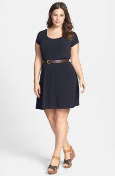 MICHAEL Michael Kors Cap Sleeve Belted Fit & Flare Dress (Plus Size) | Nordstrom