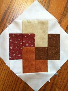 No pattern, but you can use your imagination in making this block, love the colors being used in this block!