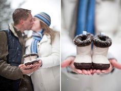 A Winter Woodland Maternity Session in the Snow with Sweet Baby Boots   by White Photographie