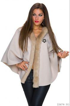 Παλτό κάπα με κουκούλα - Μπεζ