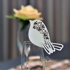 48pcs ivory bird laser cut table name place cards wedding party favor decor