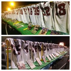 Jerseys with fatheads on fence Football Awards, Football Signs, Football Cheer, High School Football, Football And Basketball, Football Stuff, Hockey, Football Season, Lacrosse