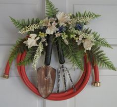 Country Primitive Garden hose wreath decorated by nyflowerchic, $45.00