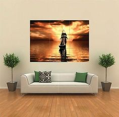 Boat sea sailing #sunset new #giant #poster wall art print picture g112,  View more on the LINK: 	http://www.zeppy.io/product/gb/2/231657988256/