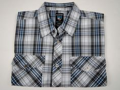 Kuhl Suncel Blue Gray Plaid Outdoor Metal Button Shirt Men's M Medium #Kuhl #ButtonFront