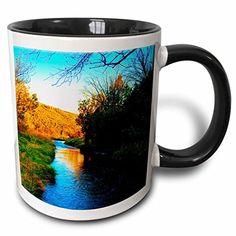 Jos Fauxtographee Realistic - Very Vibrant Orange, Blue and Green View of River at Baker Dam Reservoir With Trees on Banks - 11oz Two-Tone Black Mug (mug_49678_4) 3dRose http://www.amazon.com/dp/B013513WQY/ref=cm_sw_r_pi_dp_UvuXwb132C01F