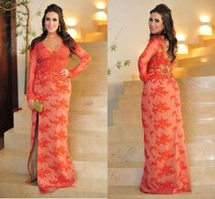 Wholesale Prom Dresses - Buy Long Sleeves Prom Dress With Deep V Neck Split Side See Through Back Plus Size Coral Lace Evening Gowns Sexy Backless Prom Party Dress, $124.54 | DHgate