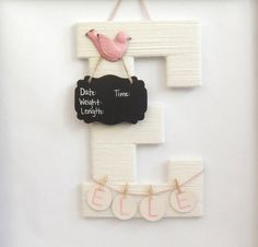 Hospital door hanging baby girl baby shower gifts baby room ivory hospital door hanging letter e pink metal bird chalkboard birth info personalized name negle Image collections