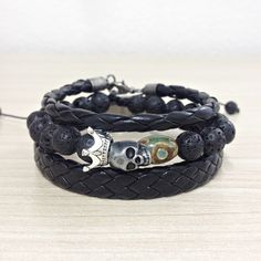 Kit 3 Pulseiras Masculinas Couro Pedras Lava Vulcanica Skull mens bracelets fashion style cocar brasil