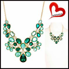 """NECKLACE Emerald Crystal Statement Jeweled Stone Necklace  NEW WITH TAGS  Glam Emerald Crystal Statement Necklace  * Gorgeous multi faceted floral shaped Crystal bubble stones  * Bib style, 3 layers   * Chain approx 16"""" long w/ 3"""" exten; Bib is approx 5.5""""L X 5""""W  * Lobster clasp closure Material: 14K yellow gold plated metal Color: Gold-Emerald Turquoise Jade  # Pastel jeweled non rhinestone delicate three layered ITEN#B96900 No Trades ✅ Offers Considered*/Bundle Discounts✅ Olivia Welles…"""