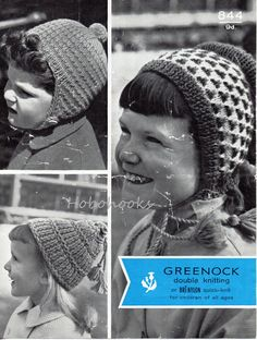childrens / girls hats knitting pattern dutch bonnet pom pom helmet thimble hat 3-9yrs DK light worsted 8 ply childrens knitting pattern pdf by Minihobo on Etsy