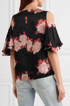 GANNI - Cold-shoulder Floral-print Satin Top - Black - DK34