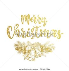 Christmas bow garland wreath with bell of golden glitter sketch. Decorative calligraphy text lettering for greeting card. Merry Christmas gold decoration pine tree cone ornament