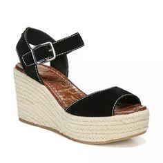 Sam Edelman Espadrilles, Slip On Espadrilles, Espadrille Sandals, Wedge Sandals, Sandal Heels, Shoes Sandals, Beaded Sandals, Black Sandals, Comfortable Shoes