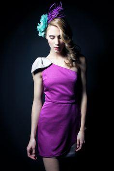 """Vestido bicolor asimétrico con lazo. Modelo Alena - """"Moments P/V"""" 2014 -Apparentia Collection  Tocado - Táneke"""