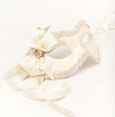 Mia Ivory/Silver masquerade mask /req37430 by partymask on Etsy, $68.00