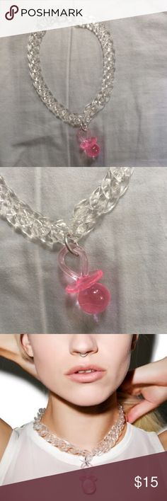 The Candy Kids Dolls Kill Pacifier Chain Chocker The neckless is plastic and measures 14 1/2 inches long m, but you can make it as tight as you want! The Candy Kids Jewelry Necklaces