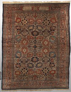 Antique Silk Heriz Carpet Date: dated A.H. 1280/ A.D. 1863 Geography: Iran Culture: Islamic Medium: Silk (warp, weft and pile); symmetrically knotted pile Dimensions: Rug: L. 120 in. (304.8 cm) W. 93 1/2 in. (237.49 cm) Classification: Textiles-Rugs Credit Line: Gift of Ann Payne Blumenthal, 1957