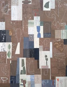QUILT #3 (brown quilt) , 2014, acrylic and collage on canvas, 87 x 68 inches