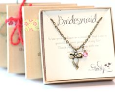set of 3  BRIDESMAID CHARM NECKLACE  simple by threetwirlybirds, $45.00