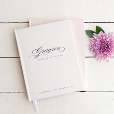 Our most classic, timeless design in classic blush pink and black calligraphy font, this beautiful wedding guest book is ready to hold memories Wedding Details, Wedding Tips, Our Wedding, Printing And Binding, Vow Book, Ribbon Bookmarks, Photo Corners, Wedding Planning List, Personalized Books