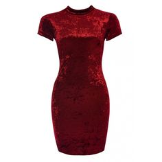 Velvet High Neck Bodycon Dress (655 MXN) ❤ liked on Polyvore featuring dresses, bodycon dress, red bodycon dress, high neckline dress, velvet dress and body con dress