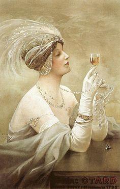 Les Deux Joyaux, Cognac Otard, c. 1915.Vintage poster illustrated by Ernest-Louis Lessieux (1848-1925).