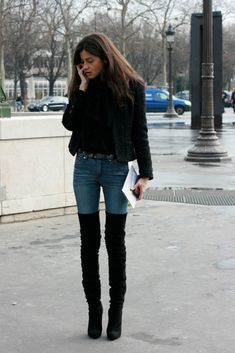 Barbara Martelo in thigh high boots