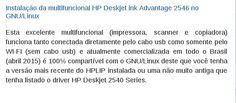 Instalação da multifuncional HP Deskjet ink Advantage 2546 no GNU/Linux com uso do driver HPLIP