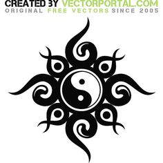 Yin yang tribal graphics - Free vector image in AI and EPS format. Armband Tattoos, Toe Tattoos, Yin Yang Tattoos, Tribal Tattoos, Tatoos, Symbols Tattoos, Element Tattoo, Embroidery Designs, Sun Tattoo Designs