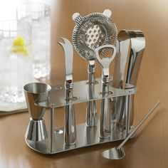 Williams Sonoma offers the quintessential home bar tools to complete any bar set. Find home bar supplies and cocktail sets that include cocktail shakers and ice buckets. Cheap Fathers Day Gifts, Home Bar Accessories, Bar Spoon, Stainless Steel Bar, Bar Tools, Real Simple, Bar Set, Cooking Tools, Tool Set