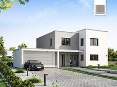 Bauhaus Futura • Massivhaus von Kern-Haus • Energiesparhaus mit moderner Außengestaltung, Flachdach und funktionalem Grundriss • Jetzt bei Musterhaus.net Infos anfordern!