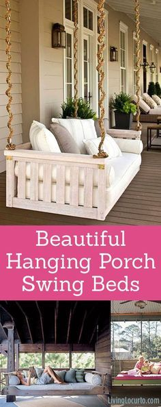 Beautiful Hanging Porch Swing Beds! Home Decor and Garden Inspiration.