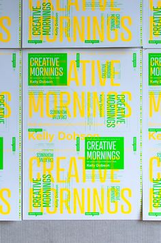 Designed to function at full or quarter size, Micah Barrett's florescent promotional poster for breakfast lecture series Creative Mornings is bright-eyed and bushy-tailed.