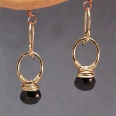 Petite Hoop Earring with Black Spinel Victorian 184