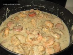 Creole Shrimp & Sausage in White Cream Sauce. serve with pasta, mashed potato or rice. - mmmm yum, soooo good used flour and milk instead of cream and worked Creole Recipes, Cajun Recipes, Fish Recipes, Seafood Recipes, Cooking Recipes, Recipies, Jamaica Recipes, Supper Recipes, Crockpot Recipes