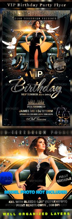 VIP Birthday Party Flyer PSD Template | Buy and Download: http://graphicriver.net/item/vip-birthday-party-flyer/8561367?WT.ac=category_thumb&WT.z_author=Stormclub&ref=ksioks
