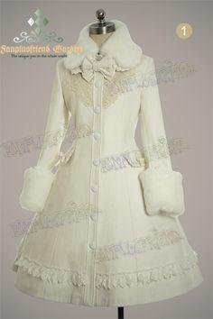 fanplusfriend - Classic Elegant Lolita Revers Embroidery Antique Embrodiery Yoke Warm Wool Coat