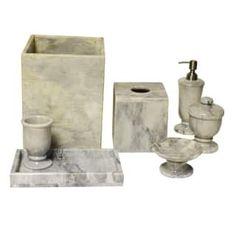 Polished Marble 7-Piece Bath Set, Cloud Gray, Shower and Bathroom Accessory