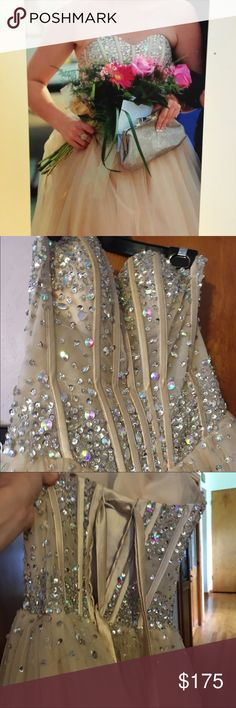 Selling this Full length champagne prom dress on Poshmark! My username is: marina_s43. #shopmycloset #poshmark #fashion #shopping #style #forsale #Dresses & Skirts