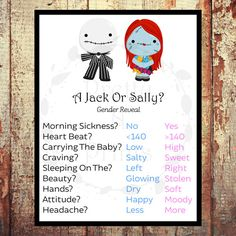 A Jack Or Sally? - Gender Reveal Game - Baby Shower Game - Instant Download - Print At Home - DIY - 1