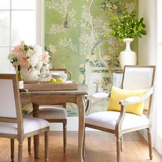 Create darling dining areas with bright whites, organic touches, and charming wallpaper. 😍 (Shop the look with link in bio! Interior Design Layout, World Decor, Rustic Home Interiors, Elegant Dining Room, Gothic Home Decor, Elegant Homes, Interior Inspiration, Interior Ideas, Cheap Home Decor
