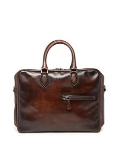 Three-Zip Leather Briefcase, Brown  by Berluti at Neiman Marcus.