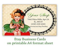 Printable business cards for Etsy shop - Digital collage sheet Printable download Digital prints Personalized pre-made business cards made by FrezeArt
